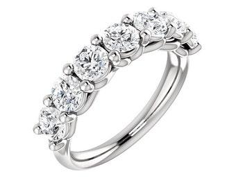 Platinum Diamond Wedding Band Ring For Women 1.75 Carats Shared Prong Set 7 Stone Anniversary Ring band Half Eternity