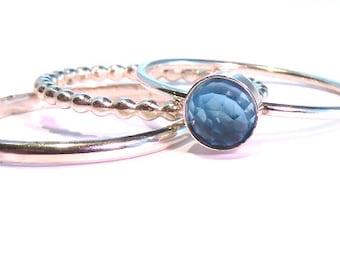 Blue Topaz Ring, Swiss Blue Topaz Stacking Set, Silver stacking rings, December Birthstone ring, December Ring, Silver topaz rings
