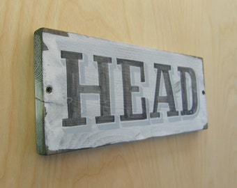 Hand Painted Rustic Sign, Nautical, Head, Galley