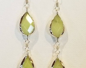 Yellow Jade Fine Silver Bezel Pierced Earrings