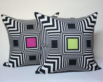 18x18 geometric pillow cover , fuchsia pillow, lime pillow, modern pillow cover, optical illusion pillow cover