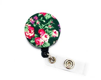 SALE !!!! Flower Cotton Fabric Pattern Retractable ID Badge Reel Alligator Swivel Clip ID Badge Holder - Nurse Gifts Badge Clips - Gift Idea