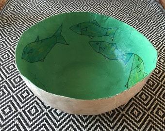 Fish Magic--- Large paper mache bowl