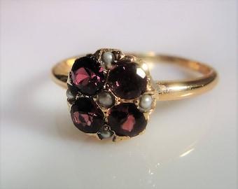Antique 14K Tourmaline & Seed Pearl Ring, Purple Ring, Purple Tourmaline Ring, Seed Pearl Ring, 14K Rose Gold Ring, Vintage Ring – Size 6.75