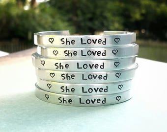 Bracelet Set, Memorial Bracelet, Bridesmaid Gift, Party Favors, Handstamped Bracelet, Wedding Party Gift, Thank You Gift, Birth Announcement