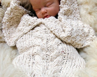 Pattern for Aran Cabled Bunting for Baby, Newborn Cocoon