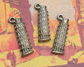 Leaning Tower of Pisa Charm - 4 pieces-(Antique Pewter Silver Finish)--style 605--
