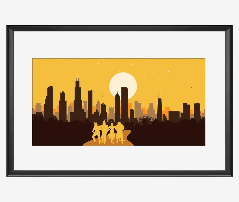 Chicago skyline Chicago print Chicago art Chicago poster