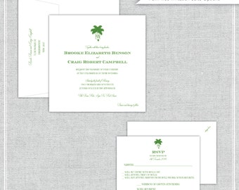 "The Palm Wedding Invitation ""The Palm""-- (20 Invites, RSVP Cards, Envelopes)"