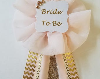 Blush and Gold Chevron Bride to Be Bridal Shower Pin Mommy to Be Baby Shower Pin Corsage