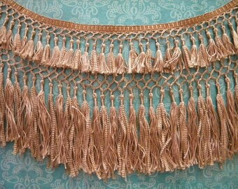 Antique Knotted Silk Fringe 1920's Piano Shawl Trim 1 Foot Double Layer Fringe