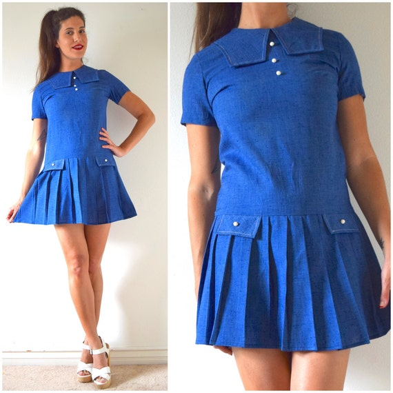 Vintage 60s Blue Chambray Dropped Waist Pleated Sailor Shift Dress (size small, medium)