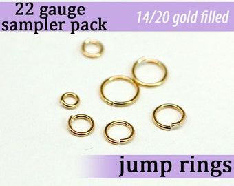 126 pcs 22g gold fill sampler pack jump rings 22 gauge 22gsamp 14k gold filled rings findings links