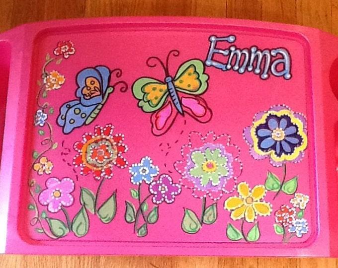 Girls activity tray, girls lap tray, girls TV tray, butterfly lap tray, butterfly TV tray, kids game tray, girls arts craft tray