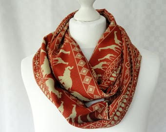 Giraffe and Elephant print infinity scarf, Animal print infinity scarf, Ethnic print scarf, Scarf with giraffe and elephant print