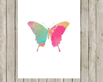 8x10 Butterfly Printable, Butterfly Art Print, Watercolor Nursery Wall Art, Poster, Home Decor, Butterfly Poster, Instant Digital Download