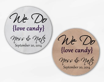 We Do Love Candy Personalized Wedding Favor Stickers - Dark Purple Custom White Or Kraft Round Labels for Candy Buffet Bags Envelope (2019)