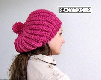 Knit Hat with Pom Pom, Pink Hat, Pink Beanie, Womens Hat, Chunky Knit Hat, Women Slouchy Beanie,,Knit Slouchy Hat, Pom Beanie Slouch Beanie