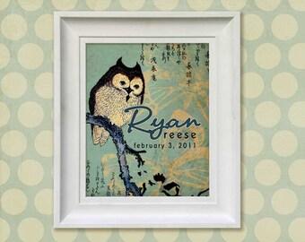 Nursery Art Print - Asian Owl 8x10 Personalized Baby Room Decor