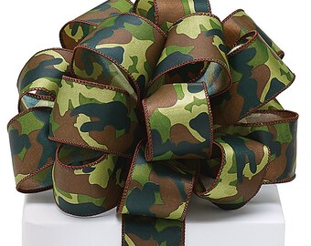"""New Wired Camo Fabric Ribbon, 1-1/2"""" wide. Camouflage Satin Ribbon. Camo Bow, Camouflage Bow"""