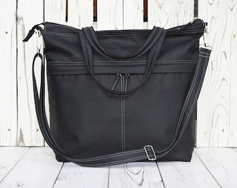 Black Waxed Canvas Messenger Bag, Vegan Solid Diaper Bag, Functional Waterproof Laptop Carrier, Large Weekender Bag, Minimalist Bag