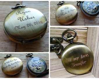 Personalized Watch Gift for Boyfriend Groomsmen Gift Steampunk Bronze Pocket Watch Mechanical Watch Bronze Engraved Watch Skeleton Watch