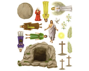 3 Easter Story Sticker Sets - Self-Adhesive - Lent