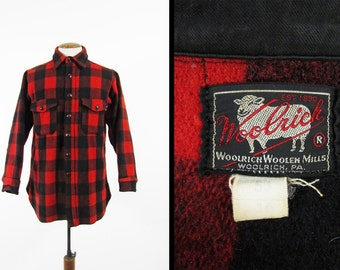 Vintage 1940s Woolrich Shirt Red Wool Buffalo Plaid Hunting Shirt Made in USA - Size Large