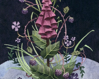 Fine Art Print of Original Watercolor Painting - Foxglove 'Queen of the Hedgerow'