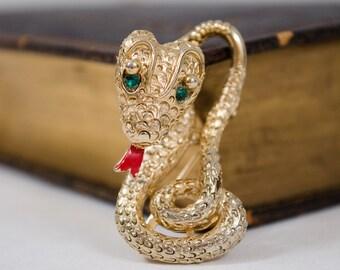 1940s vintage brooch / snake trembler brooch / novelty brooch