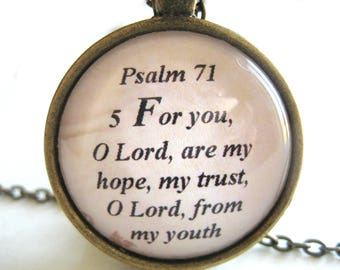 Bible Verse Necklace - Scripture Necklace - Hope and Trust Bible Verse Psalm 71:5 - Christian Necklace - Gift Box Included