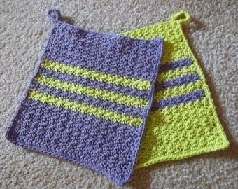 Potholder - Crochet Potholder - Made of Cotton in Purple and Light Green