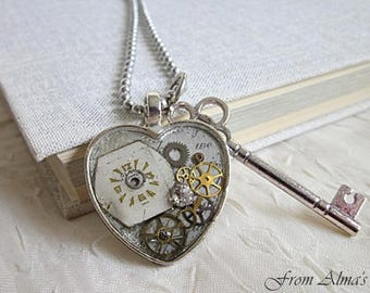 Watch Parts Jewelry, Timepiece Necklace, Vintage Watch Parts Pendant, Watch Parts Necklace, Steampunk Pendant, Timepiece Jewelry, Steampunk