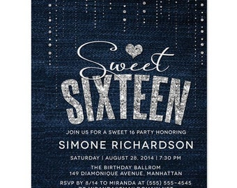 Sweet 16 Invitations - Denim & Diamonds Sweet Sixteen Invitations - Personalized DIY Printable File For Printing On  Your Own