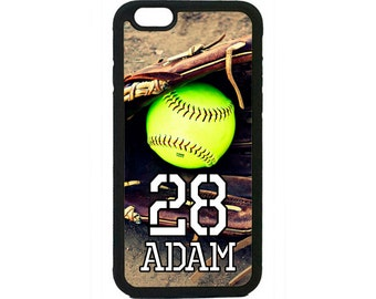 Personalized Number and Name Softball Case for iPhone 4 4s 5 5s  5C 6 6s 6 Plus 7 7 Plus iPod Touch 4 5 6 case Cover