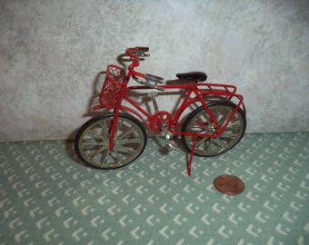 1:12 Dollhouse Miniature or Fairy garden bicycle (Red)
