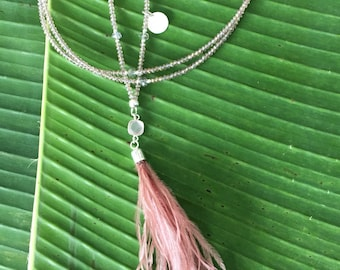 Tassel Necklace with Feathers Faethertasselnecklace