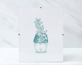 Letterpress print / the future is bright / succulent & quote print