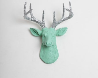 Faux Deer Head - The MINI Agnes - Seafoam Green W/ Silver Glitter Antlers Resin Deer Head- Stag Resin White Faux Taxidermy