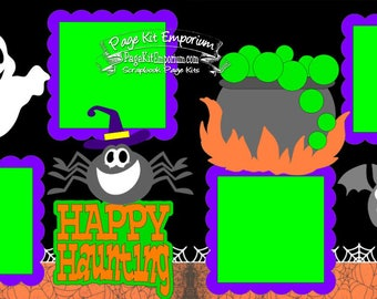 Scrapbook Page Kit Halloween Happy Haunting Spider Ghost Boy Girl 2 page Scrapbook Kit 141