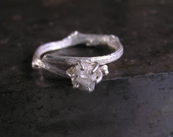 Raw Diamond Engagement Ring, Rough Diamond Ring in Sterling Silver Twig Ring, Unique Nature Inspired Engagement Ring. Uncut Diamond Ring