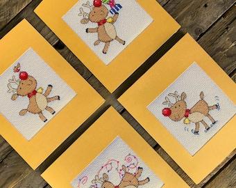 Christmas Reindeer Cards / PDF Cross Stitch Pattern
