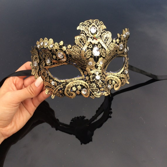 Gold Masquerade Mask, Masquerade Mask, Brocade Lace Mask, Black And Gold Mask With Jewels by Etsy