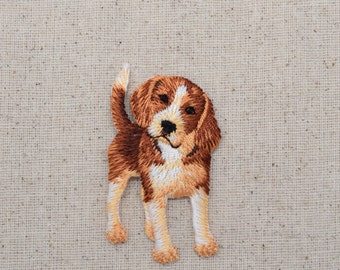 Beagle - Puppy Dog - Standing - Full Body - Embroidered Patch - Iron on Applique - 1117412A