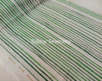 Nani iro, green stripe, double gauze, Kokka Japanese Fabric, 50cm