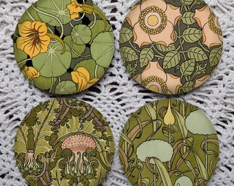 Going Green -- Art Nouveau Floral Pattern Mousepad Coaster Set