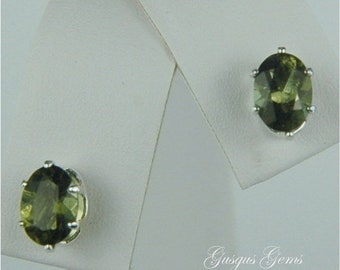 Memorial Day Sale Moldavite Faceted Stud Earrings Sterling Silver 7x5mm Oval 1.25ctw Rare Natural Untreated