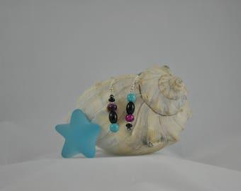 Turquoise earrings, Cranberry earrings, Black earrings, Silver earrings, Silver jewelry, Dangle earrings