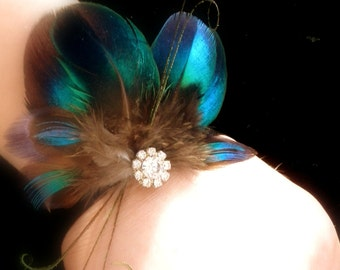 Ready to ship! Feathers are just as beautiful as flowers corsage/boutonniere combo