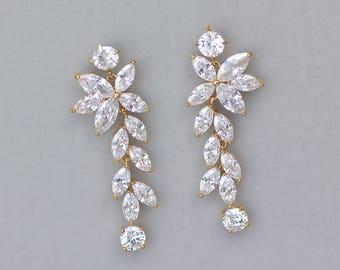 Gold Bridal Earrings, Gold Chandelier Earrings, Crystal Wedding Earrings, Crystal Earrings, Maxime